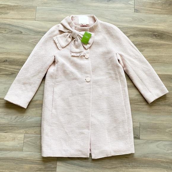 NWT Kate Spade Dorothy Tweed Bow Princess Coat Cocoon Light Blush Pink Jacket
